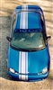 "Blue Dodge Neon w/ White 12"" Off Set Rally Stripes"