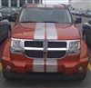 "Orange Dodge Nitro w/ silver 8"" Twin Rally Stripe Set"