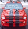 "Red Dodge Ram w/ Black 10"" Plain Rally Stripes"