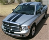"Silver Dodge Ram w/ Black 10"" Twin Rally Stripes"