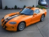 "Orange Dodge Viper w/ Black 8"" Rally Stripes"
