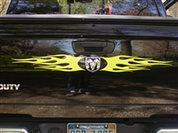 Ram Tailgate w/ Ram head logo Flame Tailgate Graphic Decal