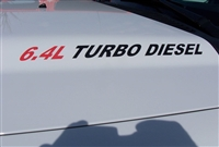 6.4L TURBO DIESEL Logo Hood Decals