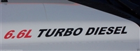 6.6L TURBO DIESEL Logo Hood Decals