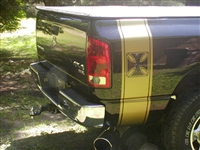 Black Dodge w/ Gold IRON CROSS Bed Side Stripes (Sold as a Pair)