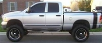 silver Dodge Ram w/ Black PLAIN Truck Bed Side Stripes (Sold as a Pair)