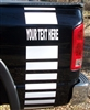Black Truck w/ White YOUR TEXT Faded truck Bed Side Stripes (Sold as a Pair)