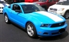 "Blue Mustang w/ White 22"" Center Rally Stripe"