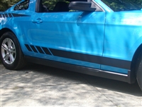 Blue Mustang w/ Black Faded Rocker Stripes