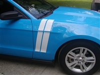 Blue Mustang w/ White Long Hash Mark Stripes