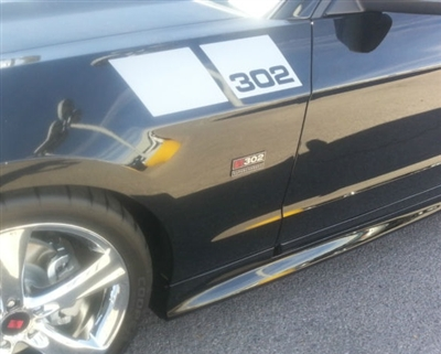 Black Mustang w/ White 302 Fender Hash Mark Stripes