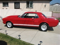 Red Mustang w/ White Rocker Stripes