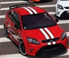 "Red Focus w/ Black & Red 4"" Rally Stripes"