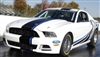 White Mustang w/ Black and Vivid Blue Offset Rally Stripes