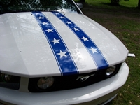 "White Mustang w/ Blue 6"" Star Rally Stripes"
