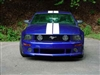 "Blue Mustang w/ White 6"" Rally Stripes"