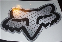 "Fox Racing Diamond Plate Head 8.5""x10"" Decal"