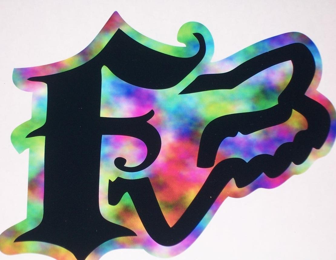 Fox racing rainbow f w head decal