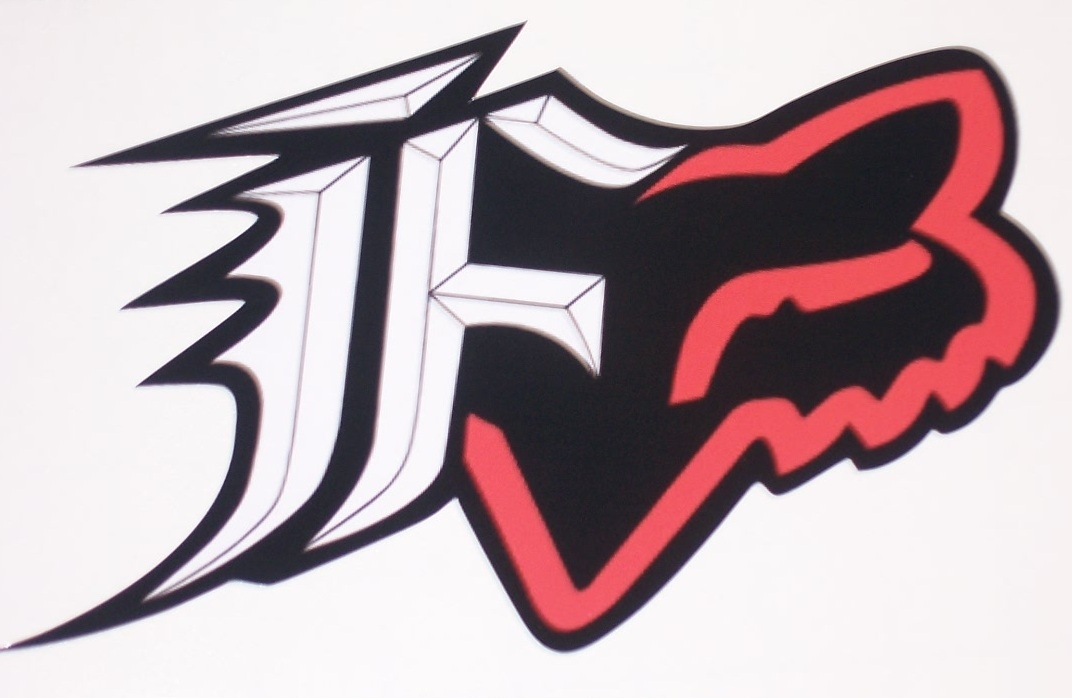 Fox Racing Red And Black F W Head 8x9 Window Decal Full Color Printed Decals