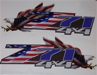 1 Pair American Flag  Eagle Z71 4X4 FULL COLOR Bed Side