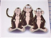 Hear See no Evil Monkey Decal