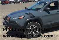 "2 (PAIR) 3"" Fender Stripe Graphics Decals Fit All Year Jeep Cherokee Cherokee Trailhawk & Compass"