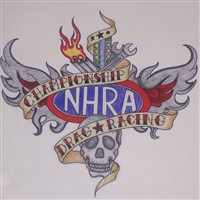 "NHRA drag Racing tattoo 9.5""x8.5"" Decal"