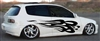 White Civic w/ Black Flames #9 Decal