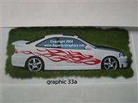 White Car w/ Flames 33a Decal
