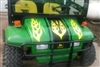 "Green UTV w/ Yellow 15"" Hood Stripe w/ Flames"