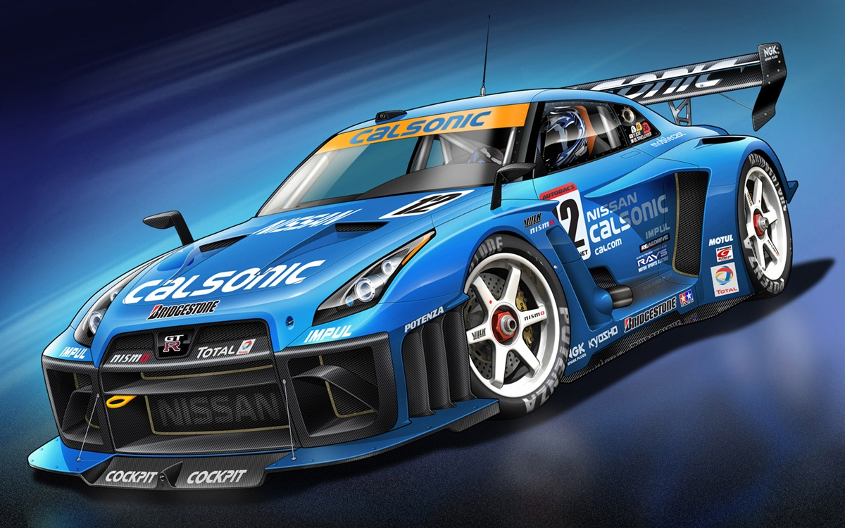 Nissan Gt R Blue Race Car Wall Trailer Graphic Decal