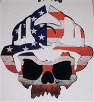 Firefighter American Flag Skull Decal