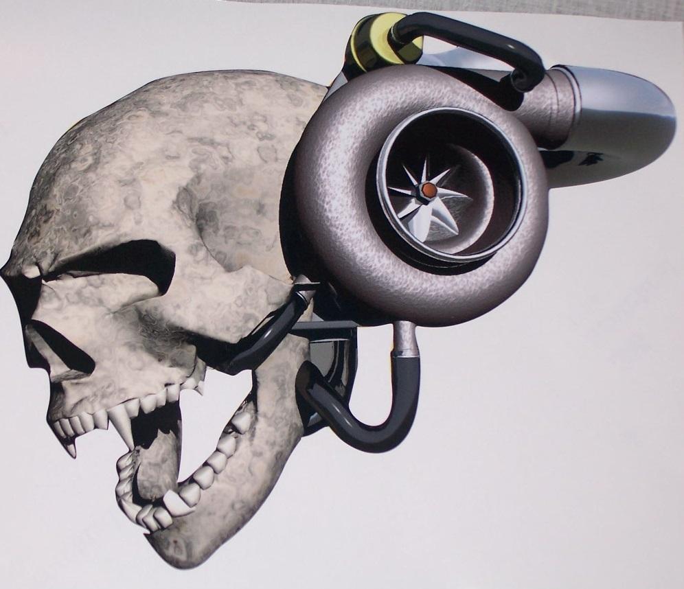 Turbo P Harley: Turbo Skull Window/Trailer Graphic Decal