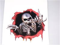 "REBEL ripped Threw Finger Skull 8.5"" x 10"" Decal"