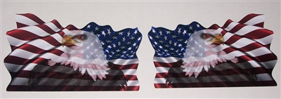Waving American Flag with Bald Eagle Decal