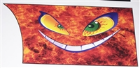 Evil Smiley Flame Rear Panel Decal