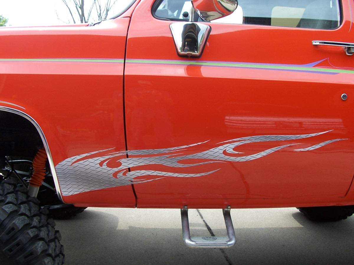 Tribal Diamond Plate Flames FULL COLOR Side Graphics Fit All Cars - Graphics for cars and trucks