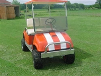 "Orange Golf Cart w/ White 6"" Golf Cart Rally Stripes"