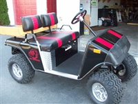 "Black Golf Cart w/ Red 6"" Outlined Golf Cart Rally Stripes"