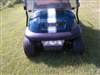 "Blue Golf Cart w/ White 6"" Golf Cart center Hood Stripe graphic"