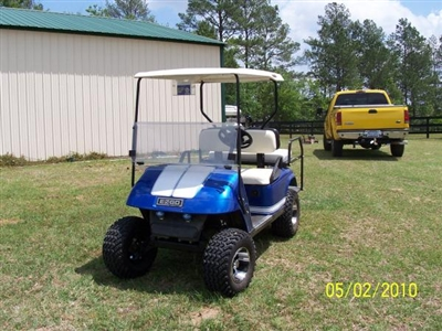 "Blue Golf Cart w/ Silver 8"" OUTLINED Golf Cart Rally Stripes"