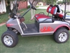 Dark Gray Golf Cart w/ Red Flame Graphic #1