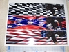 Golf Cart FULL COLOR  Checkered American or Rebel Flag EAGLE LARGE Side Stripe Graphics set