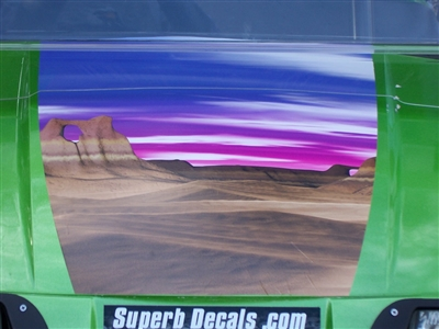 "Green EZGO Golf Cart 19"" Desert Scene  hood Stripe Decal"