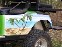 Green EZGO w/ FULL COLOR LARGE Beach Scene Graphics Set