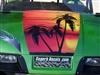 "Green EZGO w/ FULL COLOR 18"" Hood and Under seat TROPICAL PALM TREE  Graphics Set"