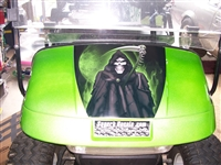 "Green EZGO w/ FULL COLOR 19"" Hood Grim Reaper Skull"