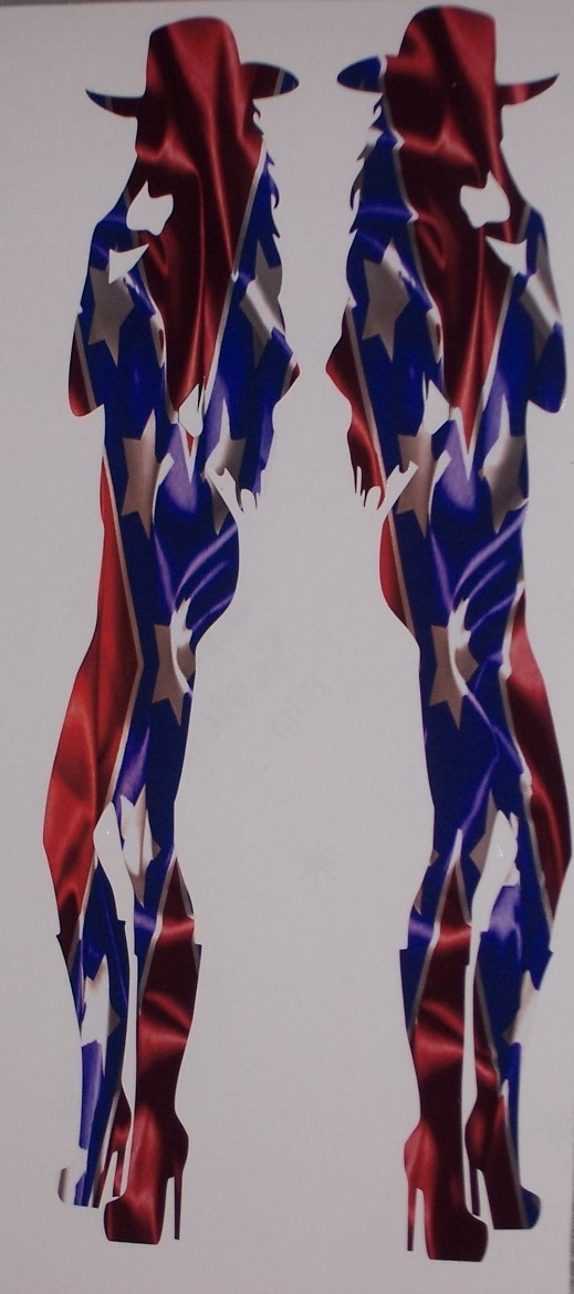 Rebel Flag Flag Cow Girl Sexy Silhouette Window Decal