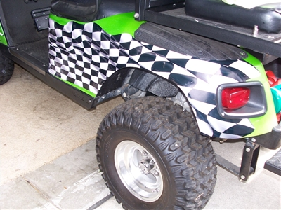 Green EZGO w/ FULL COLOR LARGE RACING CHECKERED FLAG Graphics Set