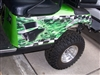 Green EZGO w/ GolfCart Ace of Spades skull Flame/Checkered Flag Decal